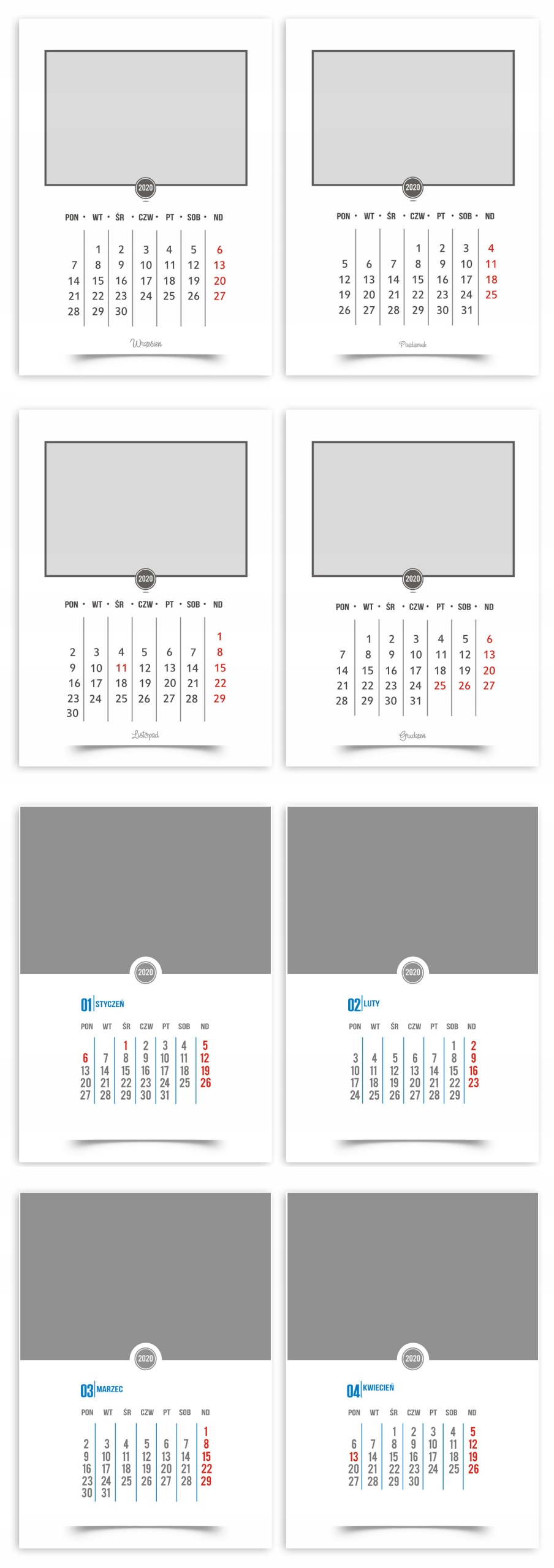 foto kalendarz A3 kalendarium 2020 szablony do projektowania kalendarza z własnych zdjęć