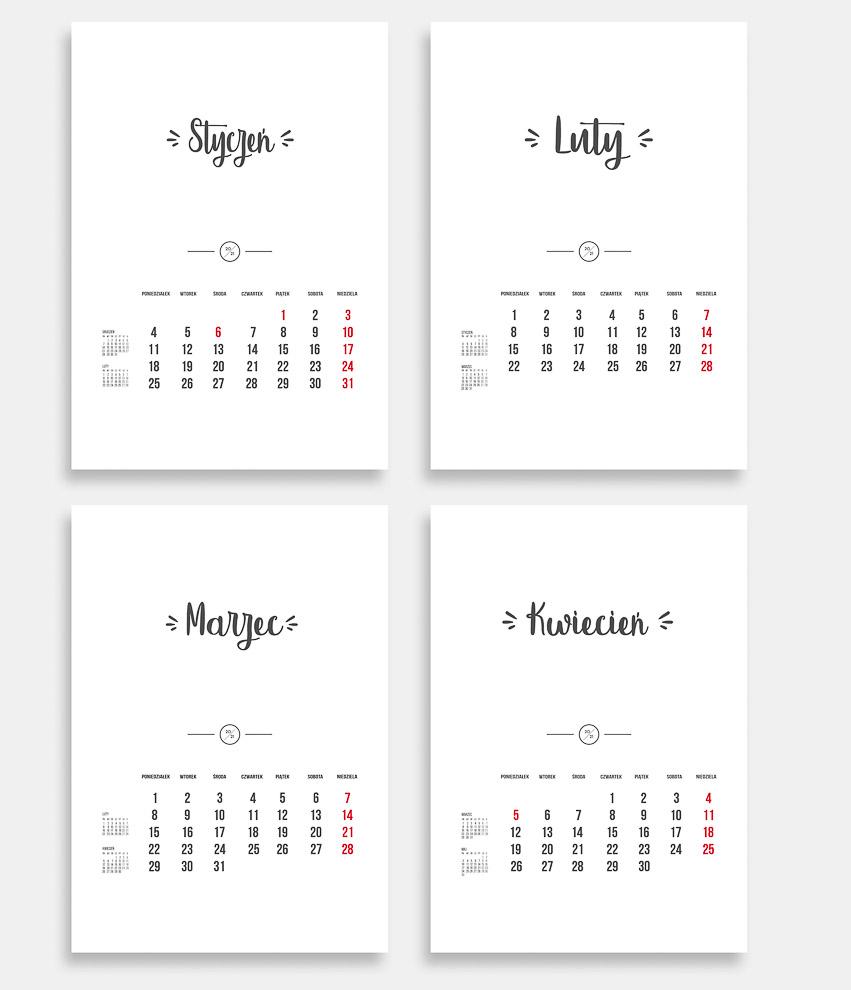 Kalendarz 2021 do druku pusty szablon 12 miesięcy