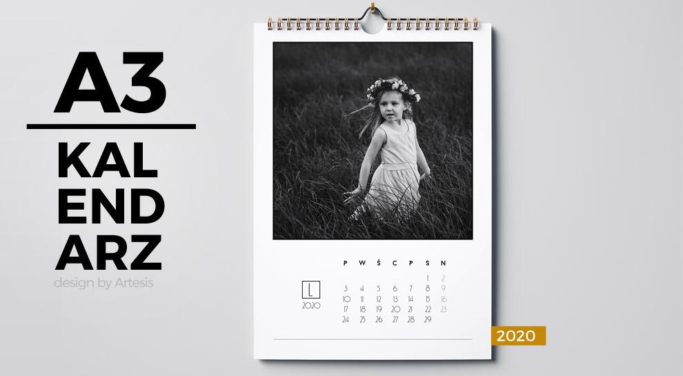 projekty kalendarzy A3 rok 2020 minimalistyczne