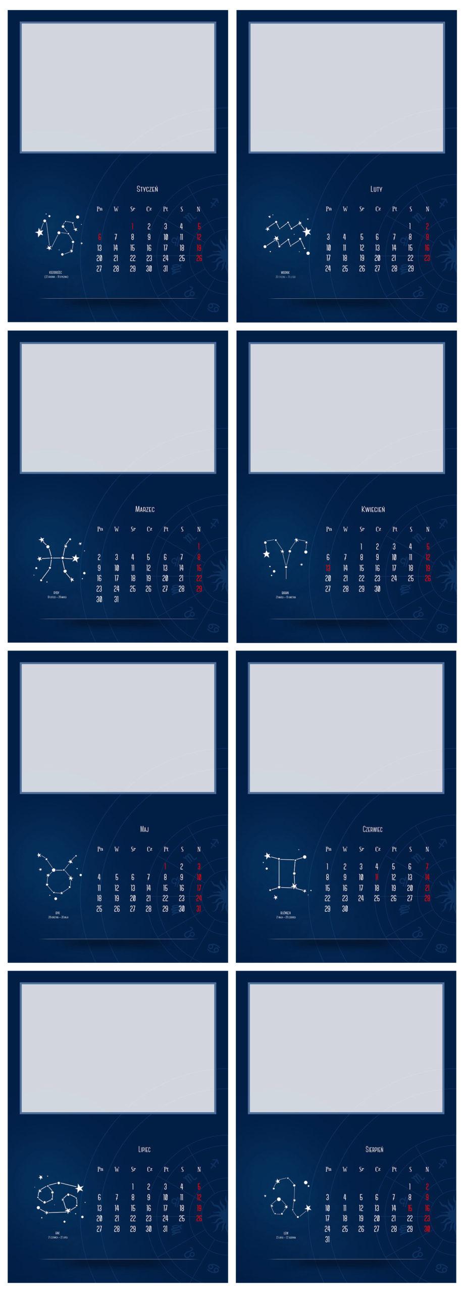 fotokalendarz szablony znaki zodiaku