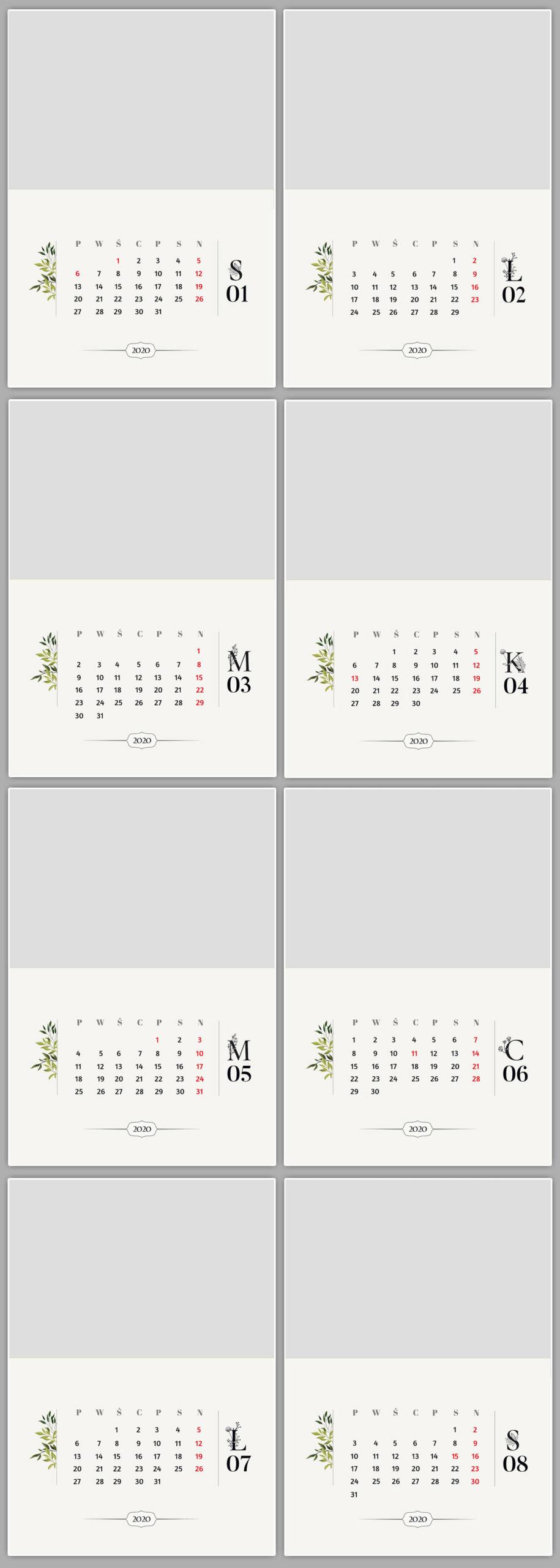 kalendarz motyw roślinny