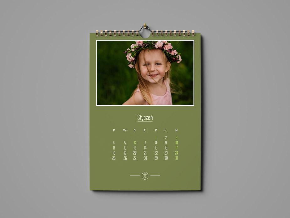 Kalendarz zielony ze zdjęciem