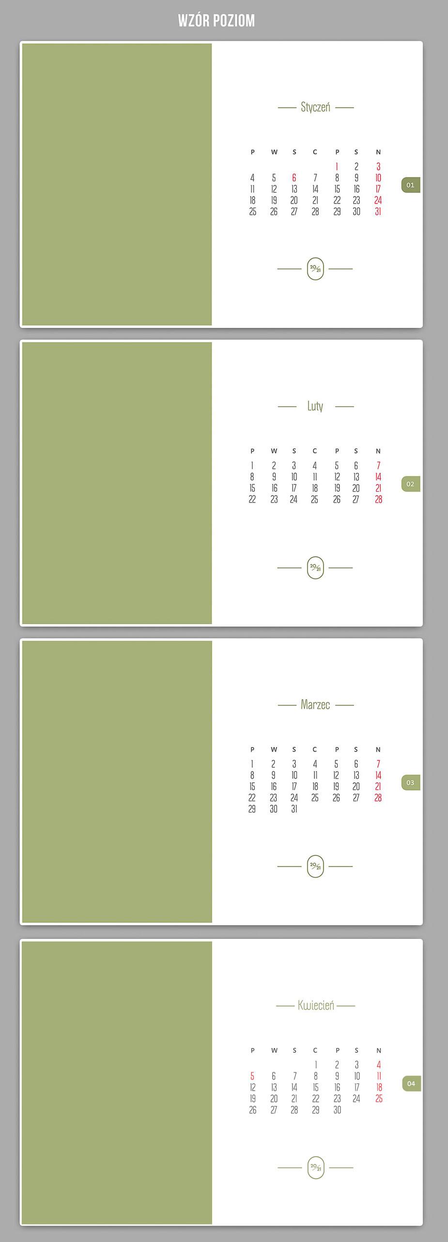 foto kalendarz szablony kalendarium 2021 projekty poziom