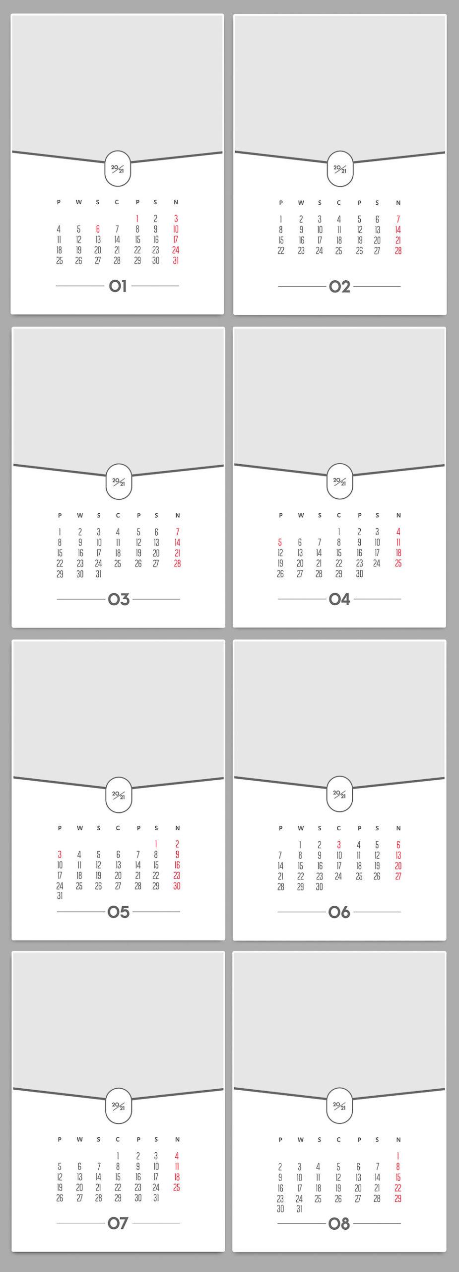 Szablony kalendarzy A4 2021 Projektowanie z własnych zdjęć