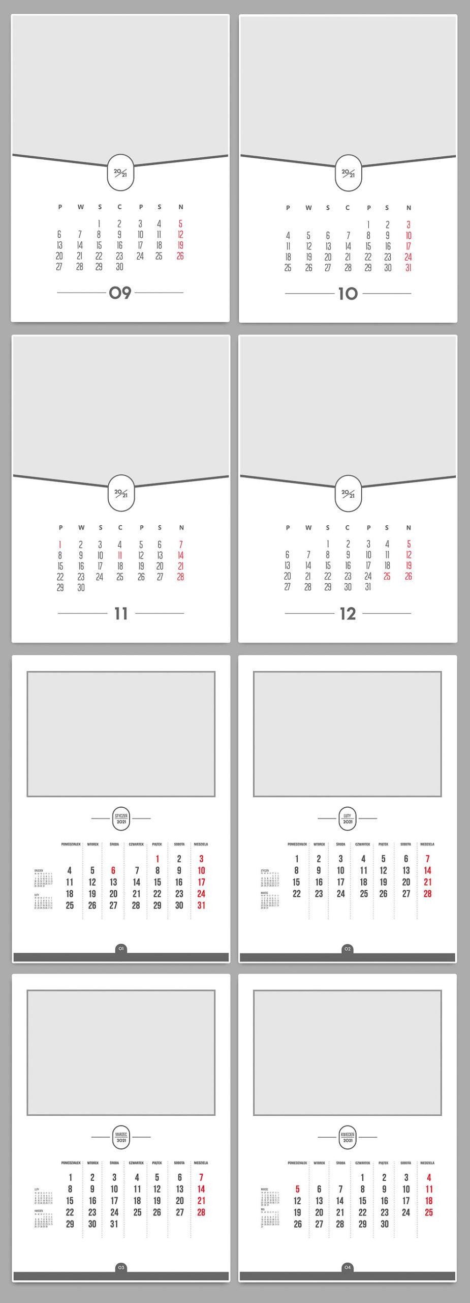 Szablony kalendarzy A3 2021 Projektowanie z własnych zdjęć