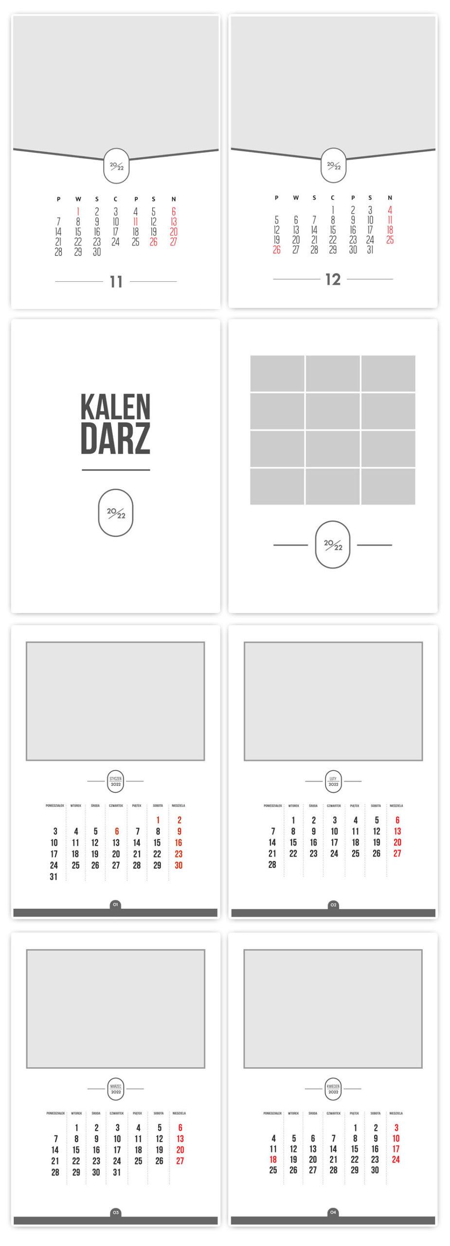 kalendarze szablony kalendarium 2022