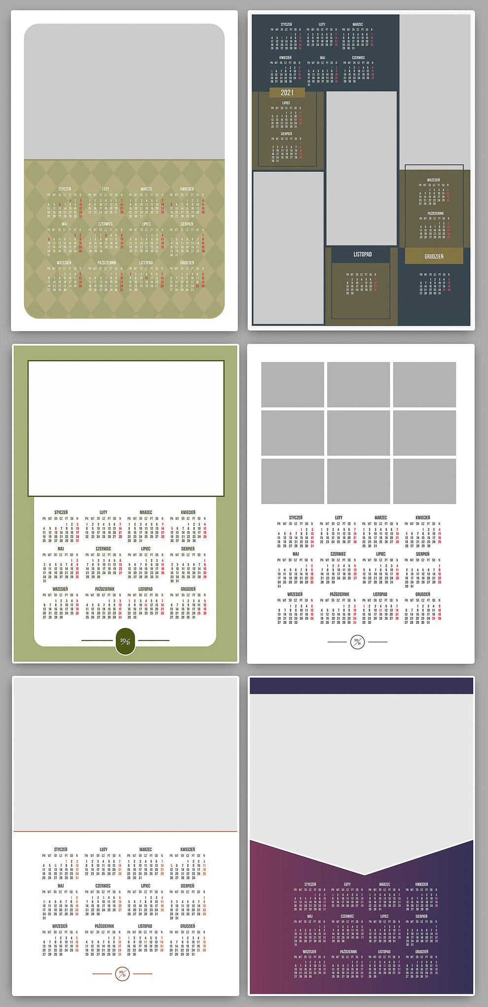 Wzory Kalendarzy A3 2021 Jednodzielne
