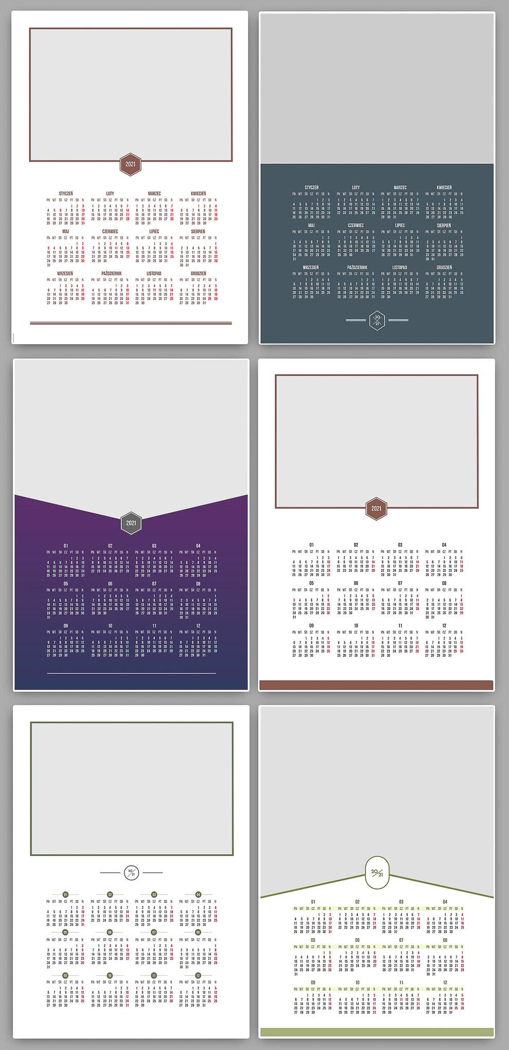 kalendarze jedodzielne a3 projekty