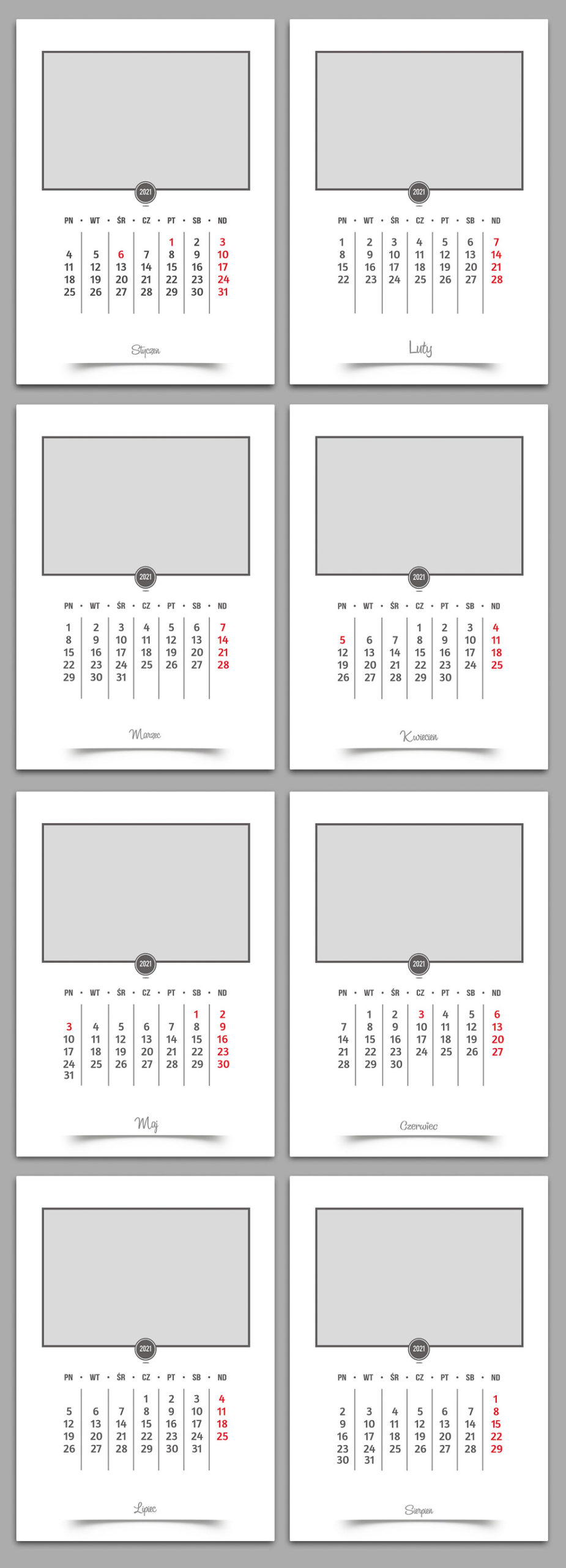 biały prosty i elegancki projekt kalendarza