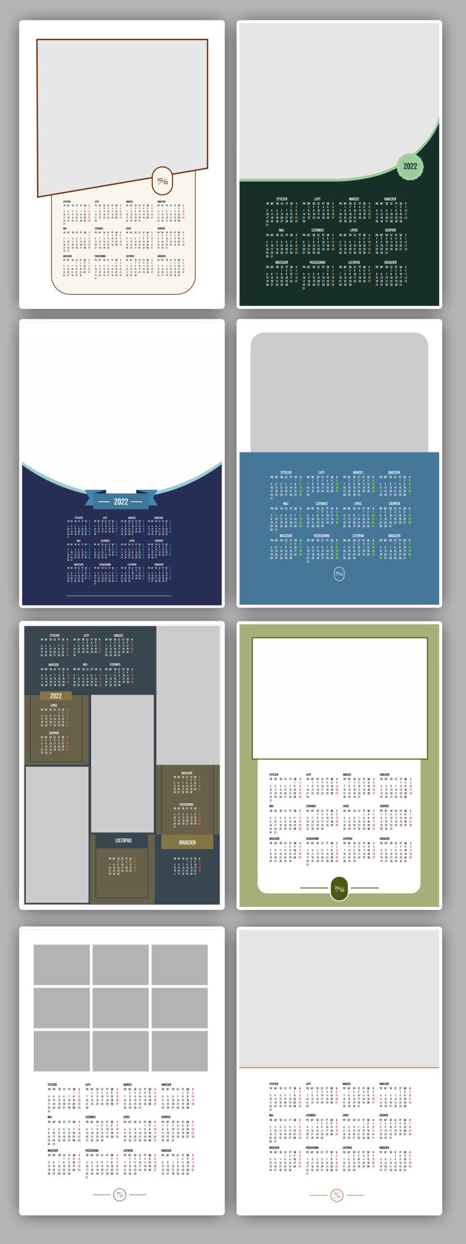 kalendarze jednostronne projekty kalendarium 2022