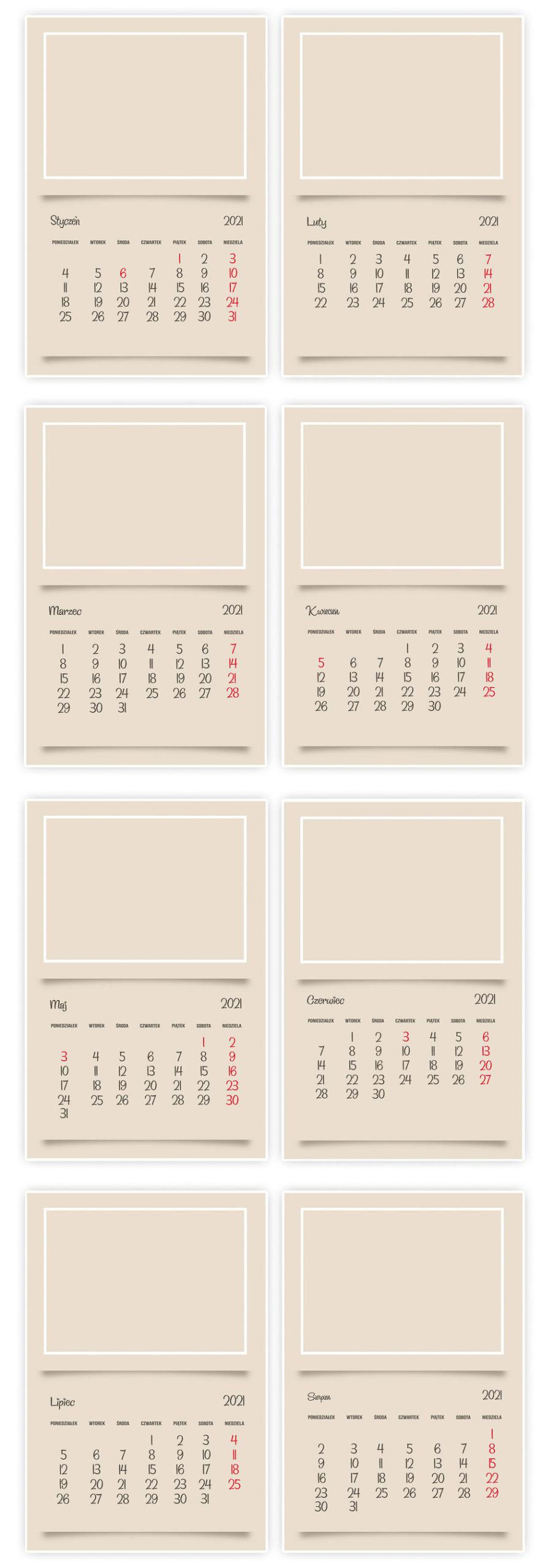 Kalendarz ścienny 2021 A4 z TWOIMI ZDJĘCIAMI