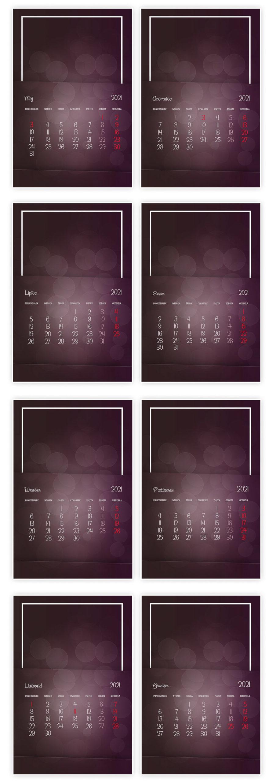 foto kalendarz szablony psd