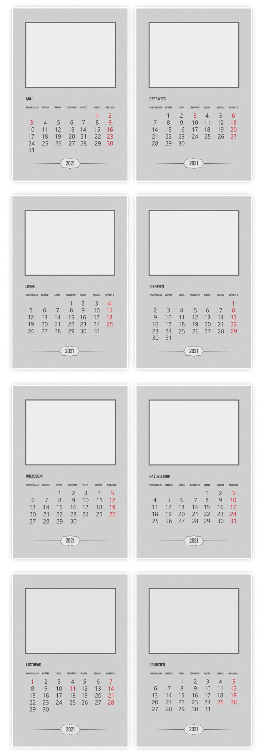 szablony kalendarz do druku 300dpi