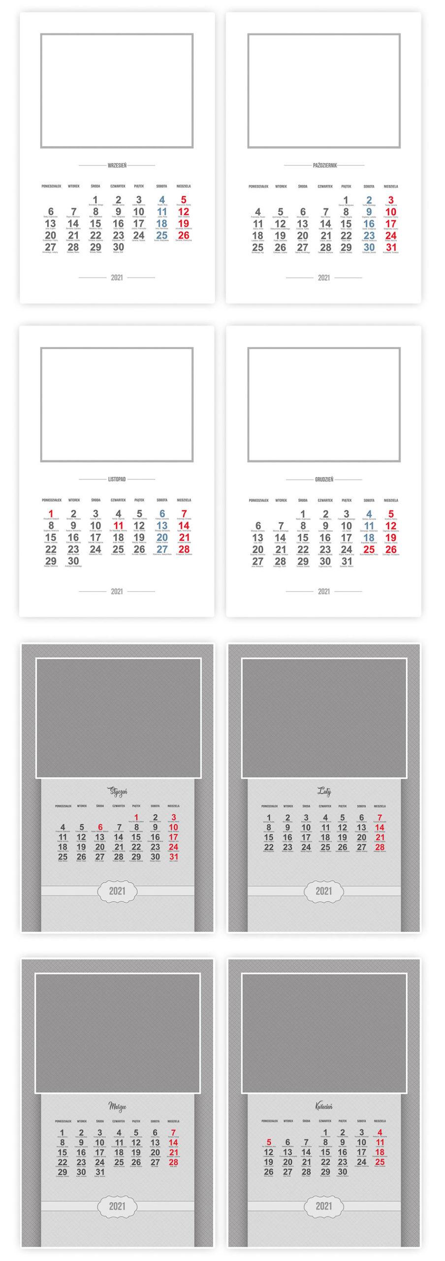 fotokalendarz template 2021