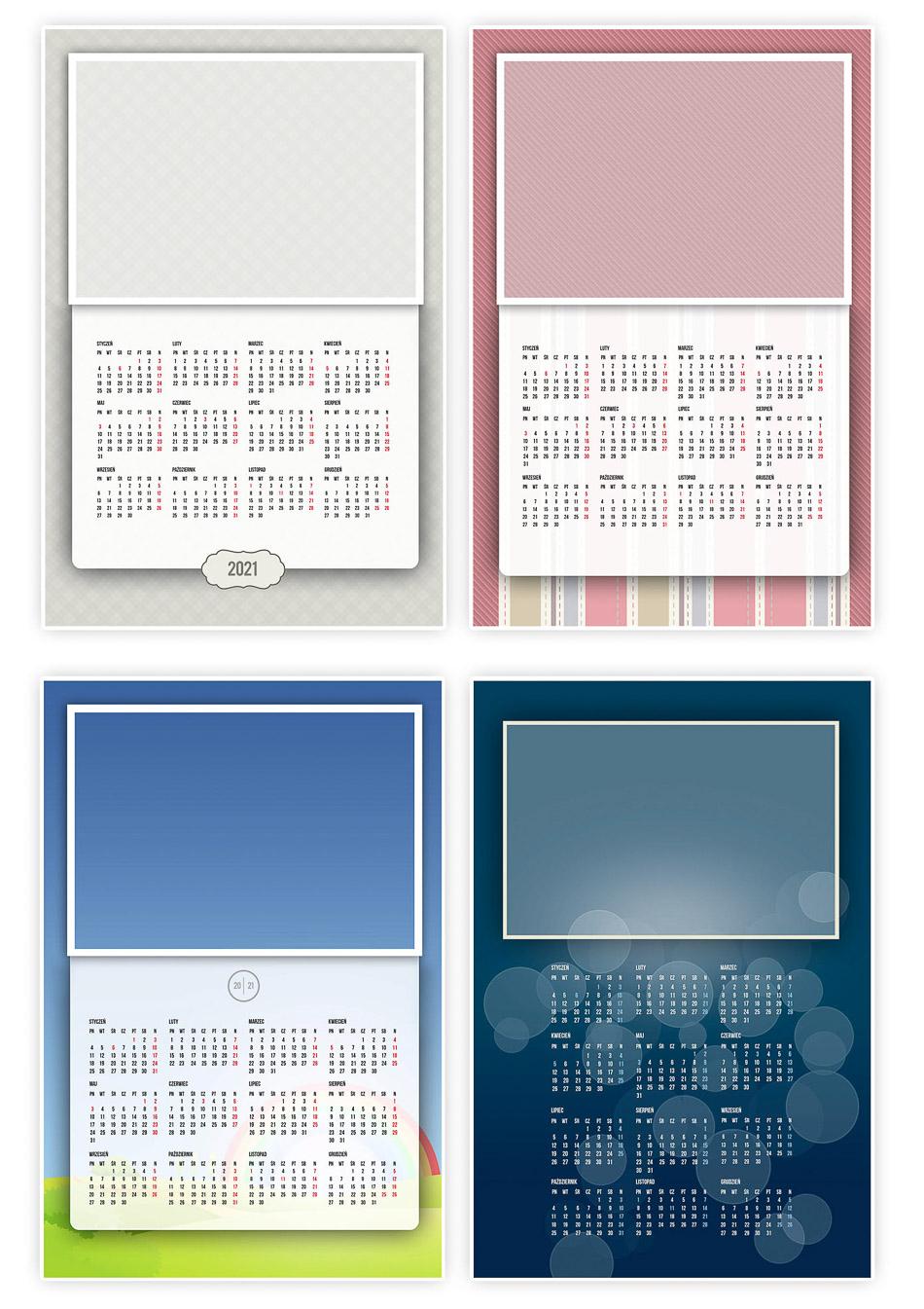 kalendarz miesięczny 2021 do druku 300dpi