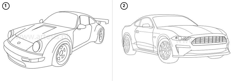 Kolorowanki pdf do wydrukowania auta wyścigowe porsche ford mustang