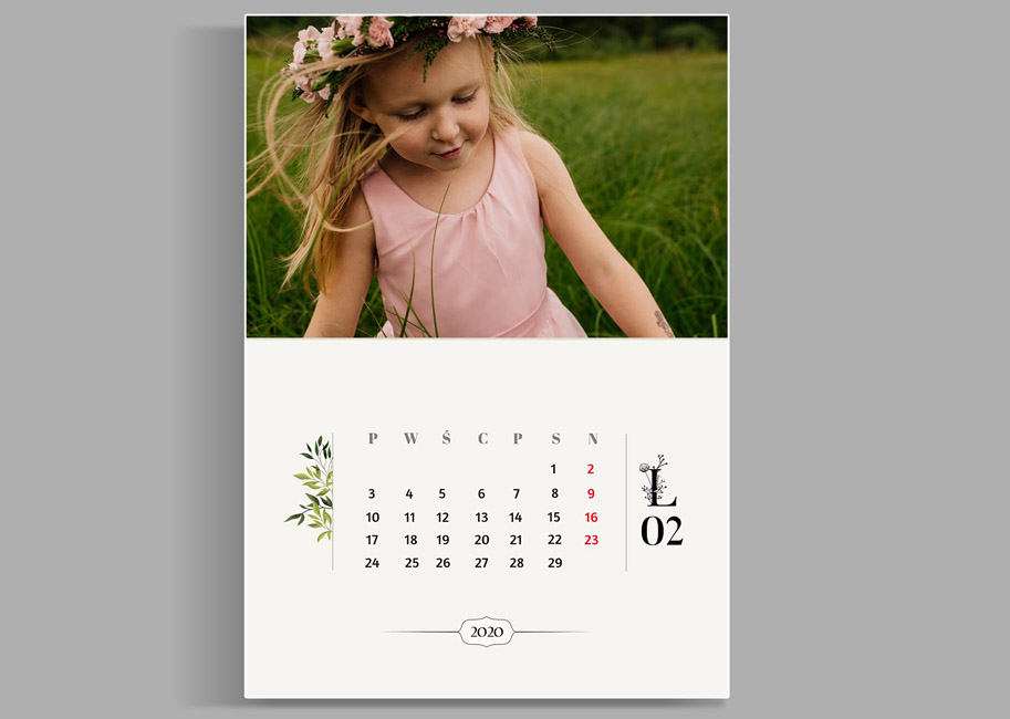 kalendarz motyw roślinny eko