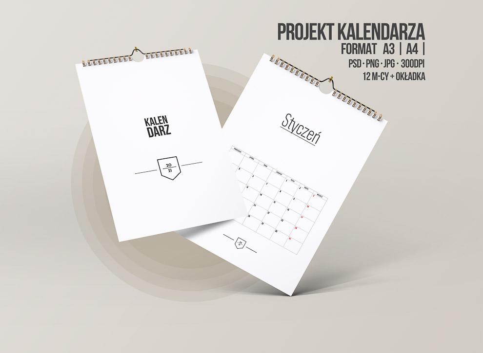 pusty kalendarz do druku 2021