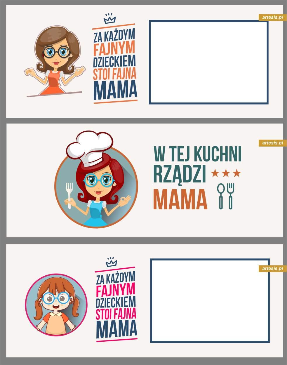 ramki na kubki dzień dziecka dla mamy dzień taty projekty za każdym fajnym dzieckiem stoi fajna mama w tej kuchni rządzi mama